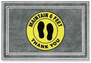 Maintain 6 feet yellow circle design