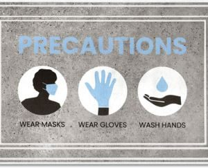 Message Mats Precautions Wear Masks Gloves Wash Hands