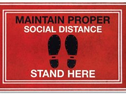 Stand Here Floor Mats Maintain 6 Covid RED